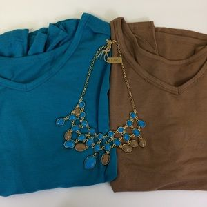 Iman Global Chic Set Two Tops, Reversible Necklace